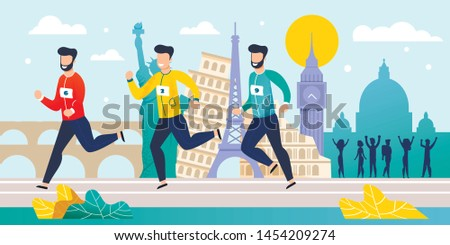 World Marathon. Running Competition. Flat Cartoon Athlete Sprinter Sportsmen Team Run on Street. Men Group Jogging over Famous Landmarks in Different Countries. Vector Tournament Race Illustration