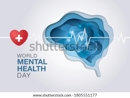 World mental health day, Abstract form of fluid liquid on brain shape, Encephalography brain, epilepsy and awareness, seizure disorder, Mental health awareness concept, Paper art vector Сток-фото ©