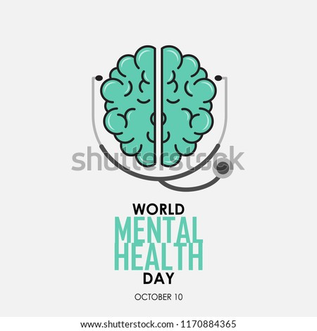 World Mental Health Day background. Brain with Stethoscope. Vector illustration.