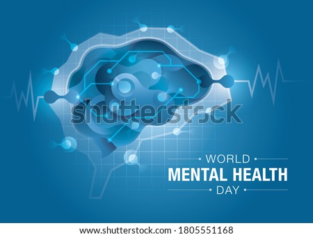 World mental health day, Brain and mental health, Encephalography brain design, Abstract form of fluid liquid on brain shape, epilepsy and awareness, seizure disorder, Mental health awareness concept