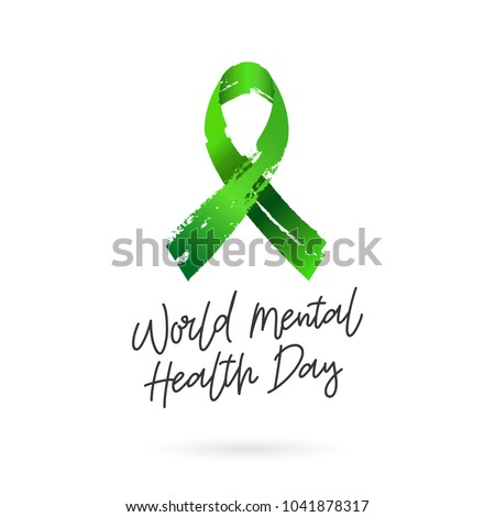 World Mental Health Day. Green ribbon from brush strokes. Vector illustration on white background. Gift card. Lettering and calligraphy.