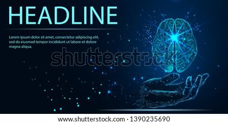 World Mental Health Day. Mood support drug therapy medical care. Sedative balance depression correction. Psychology disorder brain polygon medicine science banner vector illustration. Headline