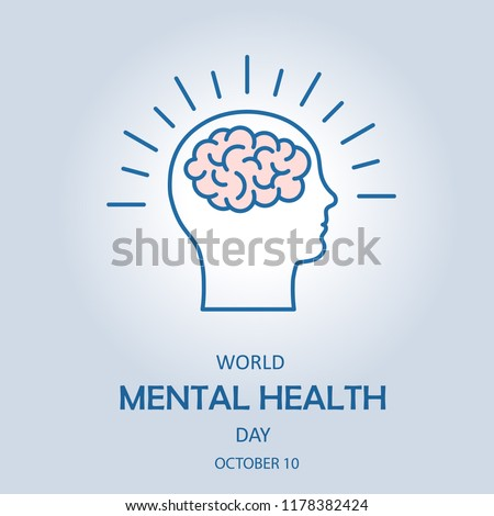 World Mental Health Day. The symbol of the brain in the head of a human. Vector illustration