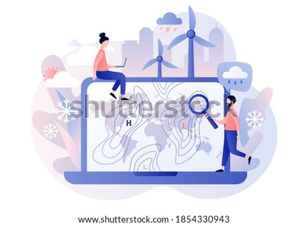 World Meteorological day. Meteorology science. Tiny people meteorologist studying and researching weather and climate condition online on laptop. Modern flat cartoon style. Vector illustration Foto stock ©