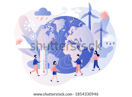 World Meteorological day. Tiny people meteorologists studying and researching weather and climate condition. Meteorology science. Modern flat cartoon style. Vector illustration on white background Foto stock ©