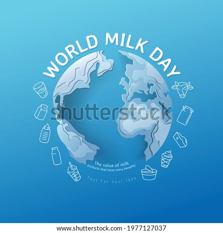 World milk day, pour milk on the world, concept for product of milk. vector illustration and design.