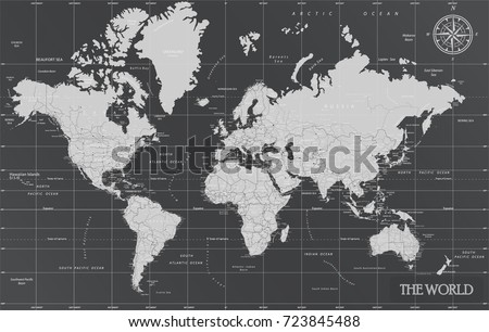 World minimal map with dark colors. #723845488