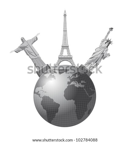 world monuments over earth isolated over white background. vector