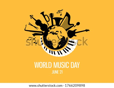 World Music Day with musical instruments vector. Different musical instruments silhouette vector. Planet Earth with musical instruments vector. Music Day Poster, June 21st.