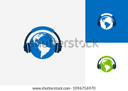 World Music Logo Template Design Vector, Emblem, Design Concept, Creative Symbol, Icon