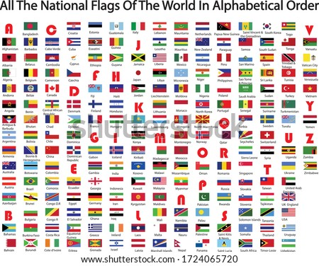World national flags in alphabetical order