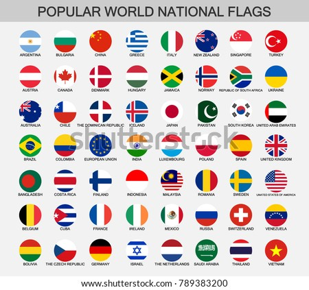 world national flags round buttons
