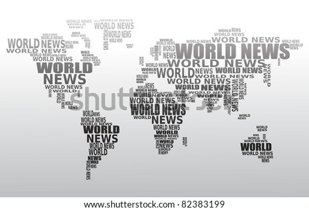 Royalty free thank you in many languages world map 619171451 world news concept abstract world map made from world news words vector gumiabroncs Choice Image