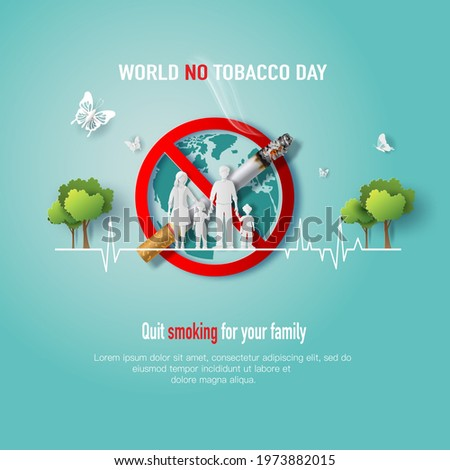 World No Tobacco day, banner design, a family standing on prohibition no symbol, paper illustration, and 3d paper. Stock photo ©