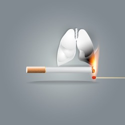 World no tobacco day, 31 May, a concept for stop smoking. Cigarette smoking isthe number oneriskfactor forlung cancer. Smoking can kill you. Vector illustration.