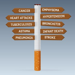 World No Tobacco Day. Poison of cigarette on direction road sign. Vector. Illustration.
