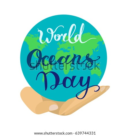 world ocean day lettering