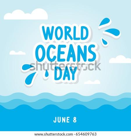world oceans day card vector