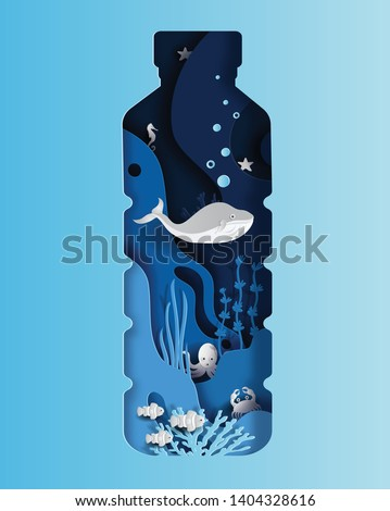 World oceans day concept, many sea creatures underwater, help to protect animal and environment, paper art and craft style, flat-style vector illustration.
