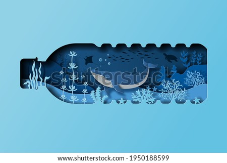 World oceans day concept, the blue whale in a bottle of water. Help to protect animals and the environment, paper illustration, and 3d paper. Foto stock ©