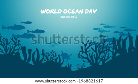 World oceans day. Happy World Ocean Day 2021. June 8th. Fish School silhouette. Coral reef. Vector illustration. Perfect for banner, backdrop, wallpaper, flyer, brochure, poster, background, campaign.