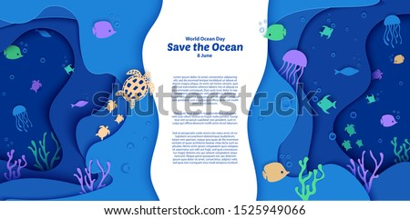 World Oceans Day 8 June. Paper craft depth under water sea cave with fishes, coral reef, seabed in algae, waves. Diving concept, deep blue marine life. Vector sea wildlife. stock photo