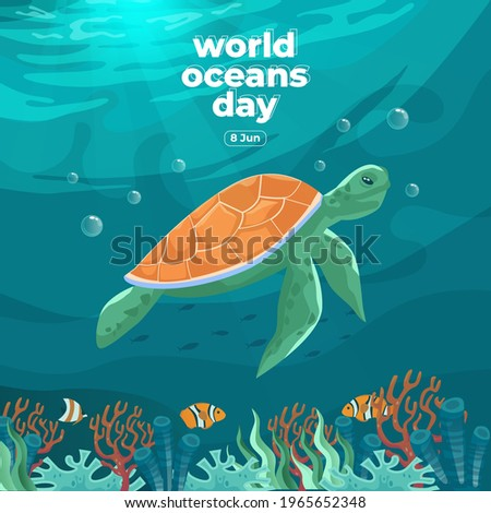 World oceans day 8 June. Save our ocean. Sea turtle and fish were swimming underwater with beautiful coral and seaweed background vector illustration.