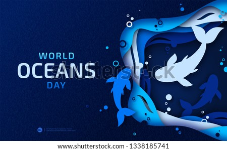 World Oceans Day, paper art. Global celebrate dedicated to help protect and conserve world oceans, problem of water plastic pollution, ecosystem, ecology. Poster with blue origami of sea waves, fishes