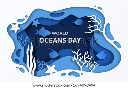 world oceans day paper cut sea