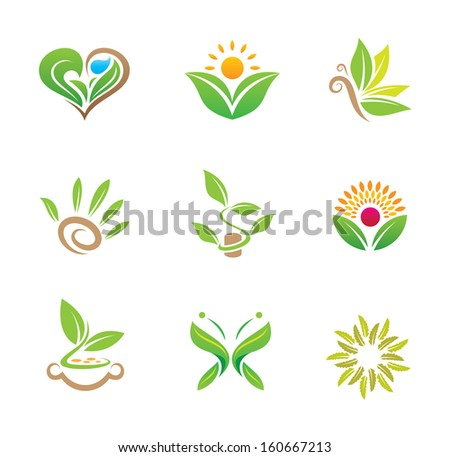 World of green healthy nature and plant kitchen food diversity logo