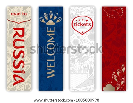 World of Russia - vertical banners set, 2018 trend, russian patterns with modern and traditional elements, vector templates.