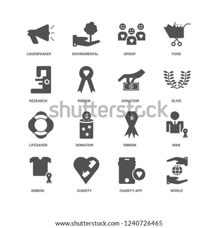 World, Olive, Donation, Ribbon, Man, Loudspeaker, Research, Lifesaver, Charity App, Charity, Group icon 16 set EPS 10 vector format. Icons optimized for both large and small resolutions.