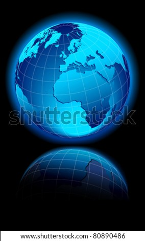 WORLD on a black background Europe, Middle East and Africa
