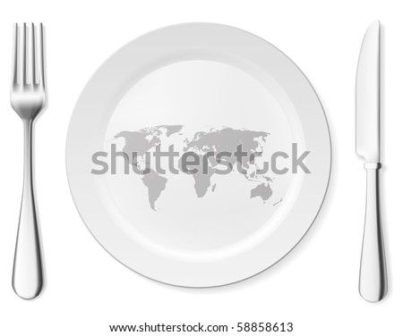 World on the clean white plate concept. Vector art collection.