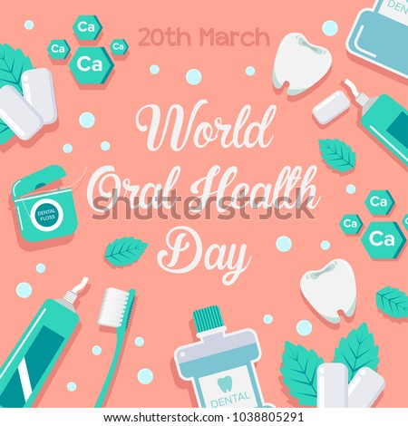 World oral health day design idea. Medical, dental and healthcare creative concept. Vector illustration in modern style.