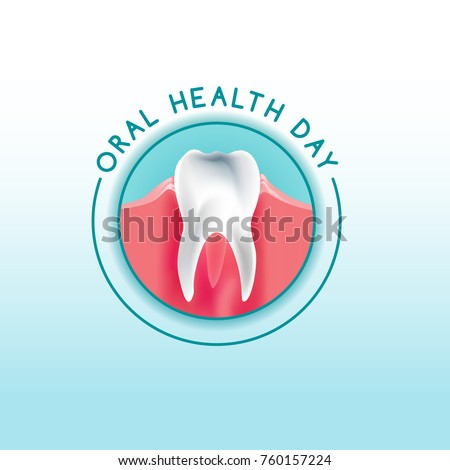 World oral health day logotype idea with healthy tooth image. Medical, dental and healthcare creative concept. Vector illustration in light blue, pink and white colors.
