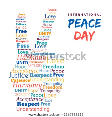 World Peace Day illustration for international freedom and holiday celebration. Hand sign made of peaceful typography quotes. EPS10 vector.