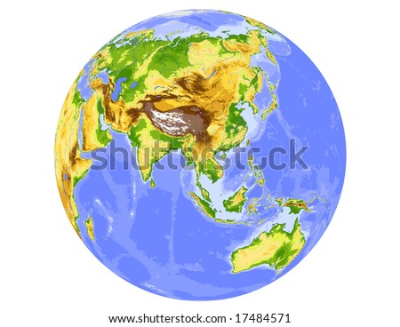 World physical vector map, centered on Asia, colored according to elevation,  with rivers and ocean depths, 20 layers, fully editable. Data source: NASA