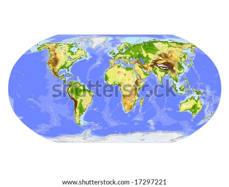 World physical vector map. Robinson projection, centered on Africa, colored according to elevation,  with contour lines, rivers and ocean depths, 22 layers, fully editable. Data source: NASA