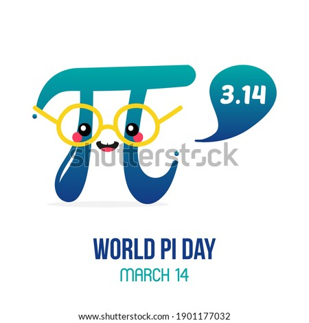 World Pi Day vector card, illustration with cute cartoon style pi letter character with speech bubble. Zdjęcia stock ©