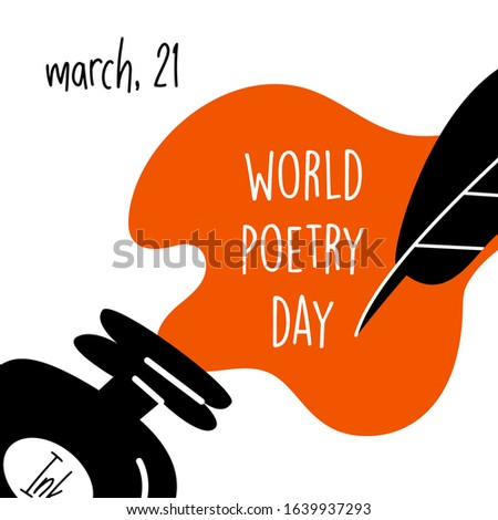 World poetry day, march 21. Vector illustration of inkwell and feather.