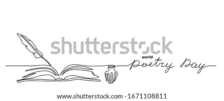 World poetry day minimalist vector sketch, web background with feather, inkwell, and book. Lettering poetry day. One continuous line drawing Сток-фото ©
