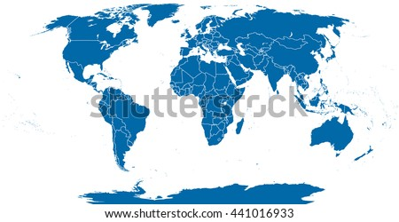 World political map outline. Detailed map of the world with shorelines and national borders under the Robinson projection. Blue illustration on white background.