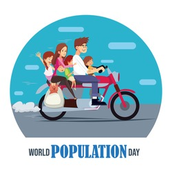 World population day, flat illustration of whole family with pet dog on a motorbike, motorcycle, vector