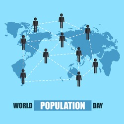 World Population Day, people network and connection, blue world map, poster, template for web, vector illustration