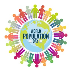 World Population Day with colorful people, Earth, globe, pictogram poster, background template, vector illustration