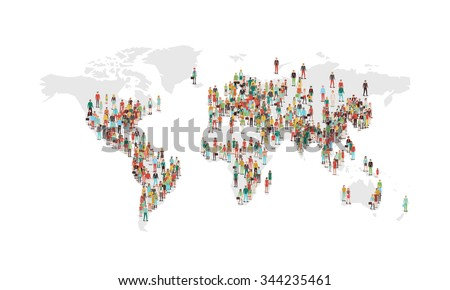 World population density map, with vector characters located in the most populated eras, white background