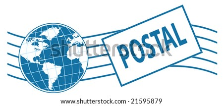 world postage stamp in blue