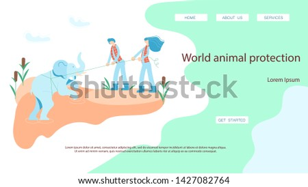 World rare animal protection landing page website template. Rescuers volunteers pull out a baby elephant from a pit. Flat Art Vector illustration
