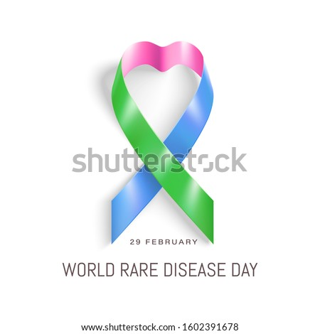 World Rare Disease Day poster. Photorealistic pink, blue, green colours ribbon on white background. Vector illustration. 29 February Rare Disease day.